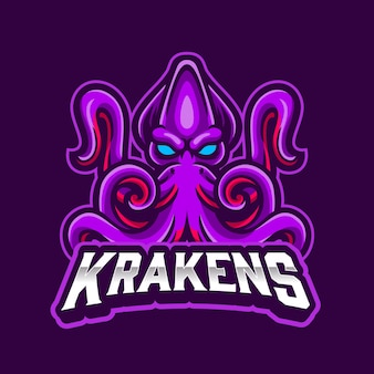 Kraken mascot sea monster logo for sports and esports logo with purple background