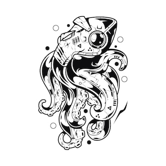 Kraken monster illustration and tshirt design