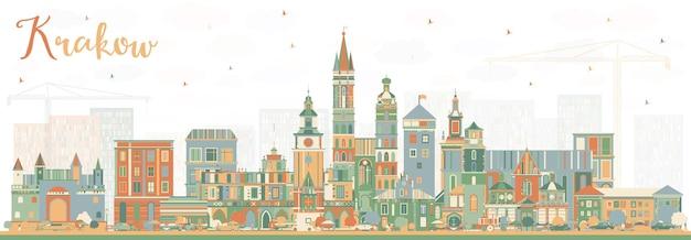 색상 건물이 있는 크라쿠프 폴란드 도시의 스카이라인. 벡터 일러스트 레이 션. 역사적인 건축과 비즈니스 여행 및 관광 개념입니다. 랜드마크가 있는 크라쿠프 도시 풍경.