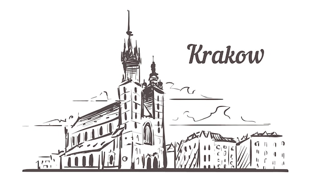 Krakow skyline sketch, poland