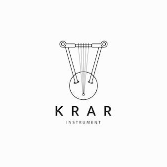 Krar traditional ethiopian musical instrument logo icon design template flat vector