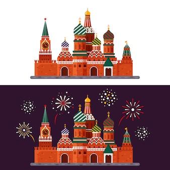 白い背景と花火で夜に分離されたクレムリン宮殿。