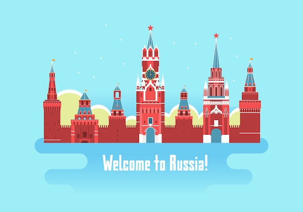 Kremlin palace welcome to russia poster