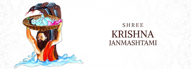 Krishna janmashtami festival card banner