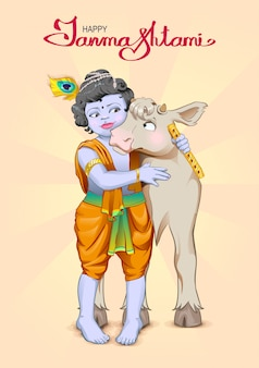 Krishna janmashtami lettering text for greeting card. god is the shepherd hugs cow. birthday krishna