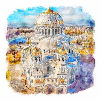 Кронштадтский морской собор россия акварельный эскиз рисованной иллюстрации