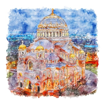 Кронштадтский морской собор акварельный эскиз рисованной иллюстрации