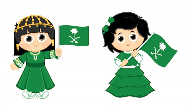 女の子はサウジアラビア(ksa)フラグロゴを運んでいます。