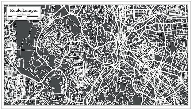 Карта города куала-лумпур малайзия в стиле ретро. контурная карта. векторные иллюстрации.