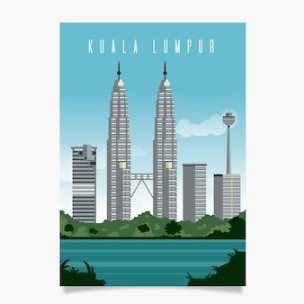 Шаблон рекламного плаката куала-лумпур