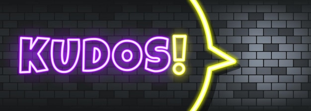 Kudos neon text on the stone background. kudos. for business, marketing and advertising. vector on isolated background. eps 10.