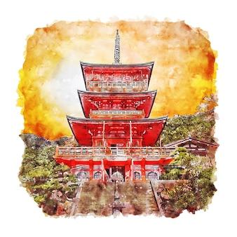 Великий храм кумано нати япония акварельный эскиз рисованной иллюстрации