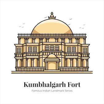 Kumbhalgarh 요새 인도 유명한 상징적인 랜드마크 만화 라인 아트 그림