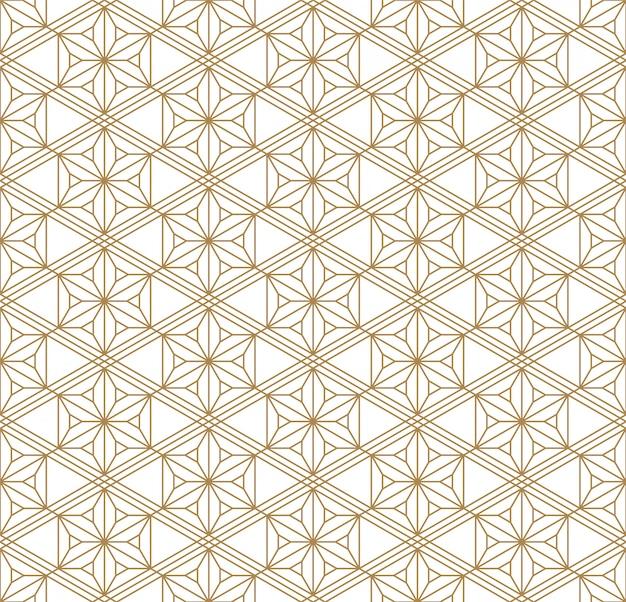 Бесшовные геометрический рисунок в золотой и белый. японский стиль kumiko.