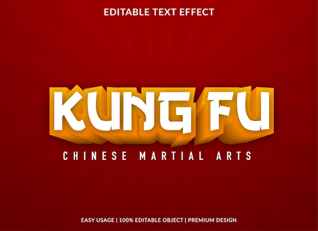 Kung fu 3d text effect template  style