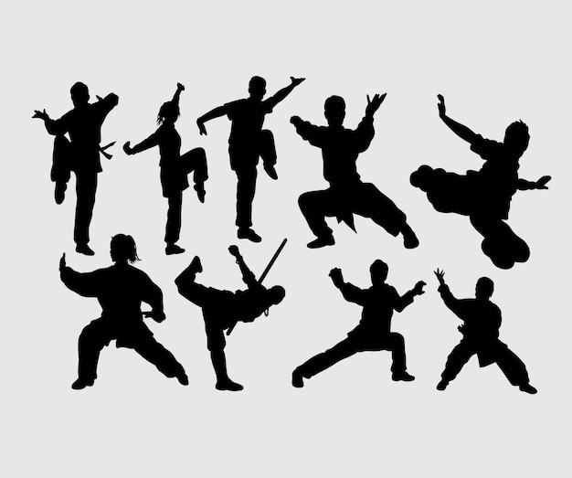 Kung fu martial art sport gesture silhouette