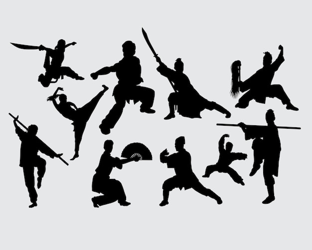 Kung fu martial art weapon training silhouette