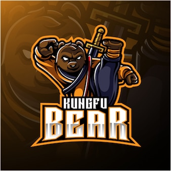 Kungfu bear logo with a sword