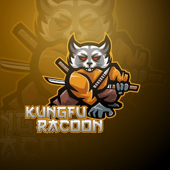 Kungfu raccoon esport mascot logo