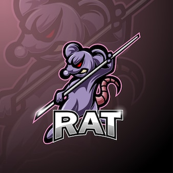 Kungfu rat esport mascot logo