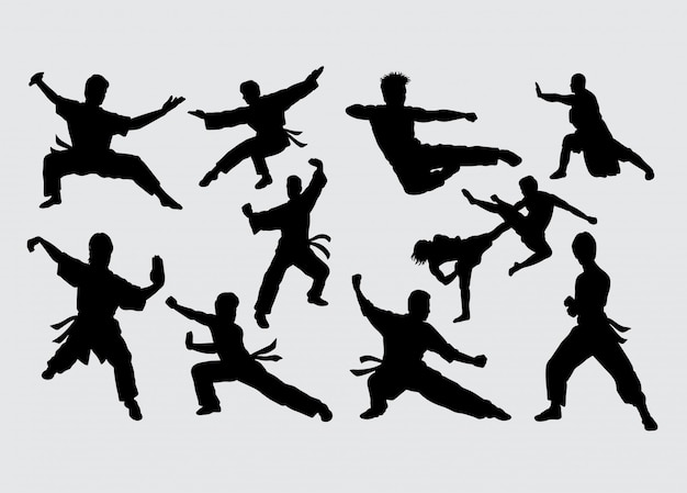 Kungfu sport martial art silhouette