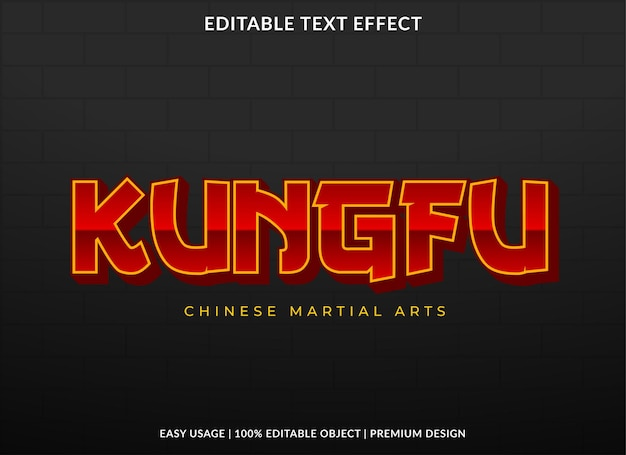 Kungfu text effect template design