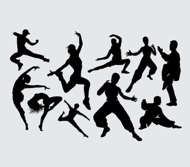トレーニングダンスとkungfuスポーツのシルエット