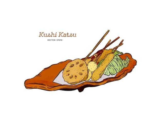 Kushi-katsu, deep fried skewered morsels. hand draw sketch vector.