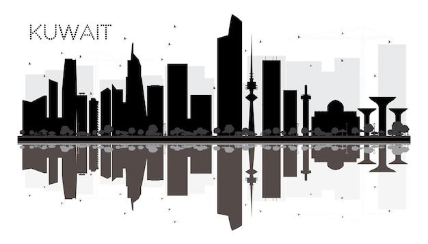 Город кувейт горизонт черно-белый силуэт с отражениями векторные иллюстрации