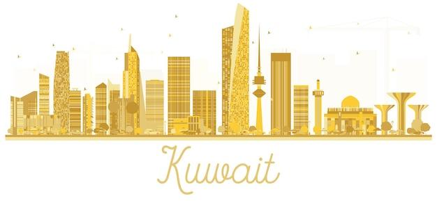 Золотой силуэт горизонта города кувейт. векторная иллюстрация. простая плоская концепция для туристической презентации, баннера, плаката или веб-сайта. концепция деловых поездок. кувейт, изолированные на белом фоне.