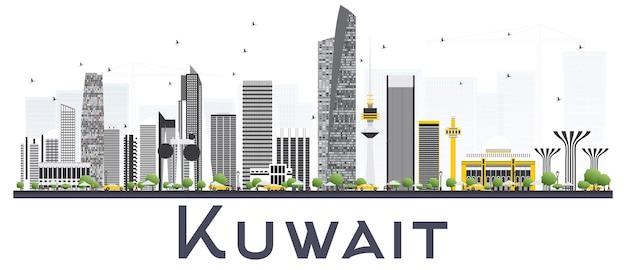 Горизонт города кувейта с серыми зданиями, изолированных на белом фоне. векторные иллюстрации. деловые поездки и концепция туризма с современными зданиями. городской пейзаж кувейта с достопримечательностями.