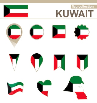 Kuwait flag collection, 12 versions