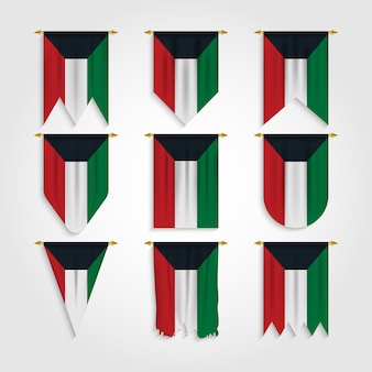 Kuwait flag in different shapes, flag of kuwait in various shapes