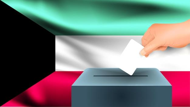 Флаг кувейта, мужская рука голосование с фоном идеи концепции флага кувейта