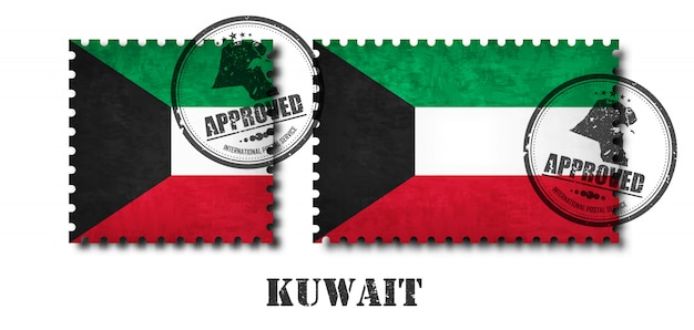 Kuwait flag pattern postage stamp