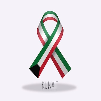 Kuwait flag ribbon design