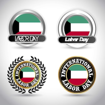 Kuwait flag with labour day design vector