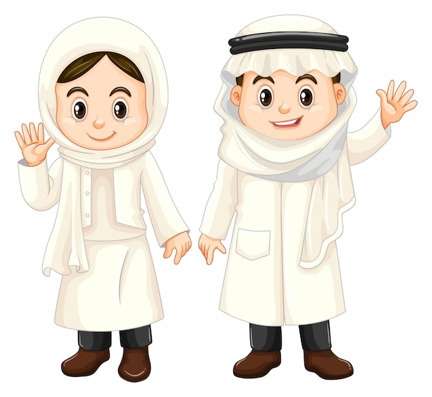 Kuwait kids in white costume