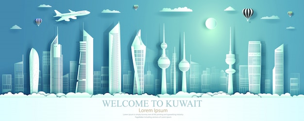 Kuwait landmarks with panorama view architecture