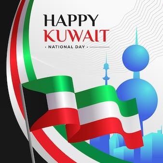 旗と挨拶のあるクウェート建国記念日