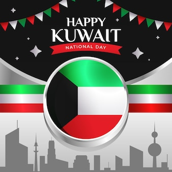 Kuwait national day with flag and garlands