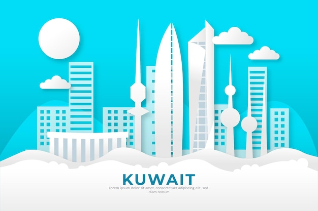 Горизонт кувейта в бумажном стиле