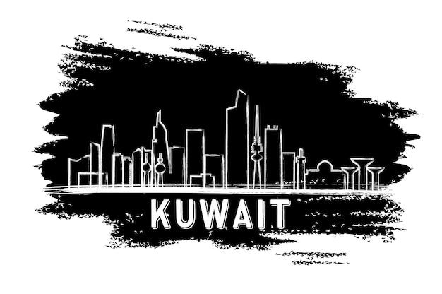 Силуэт горизонта кувейта. рисованный эскиз. векторные иллюстрации. деловые поездки и концепция туризма с современной архитектурой. изображение для презентационного баннера и веб-сайта.