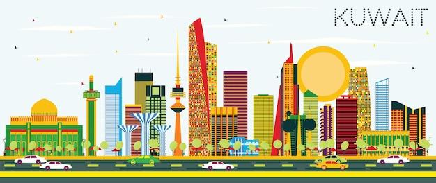 Горизонт кувейта с цветными зданиями и голубым небом. векторные иллюстрации. деловые поездки и концепция туризма с современной архитектурой. изображение для рекламного баннера и веб-сайта.