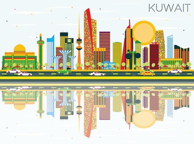 Горизонт кувейта с цветными зданиями, голубым небом и отражениями. векторные иллюстрации. деловые поездки и концепция туризма с современной архитектурой. изображение для рекламного баннера и веб-сайта.