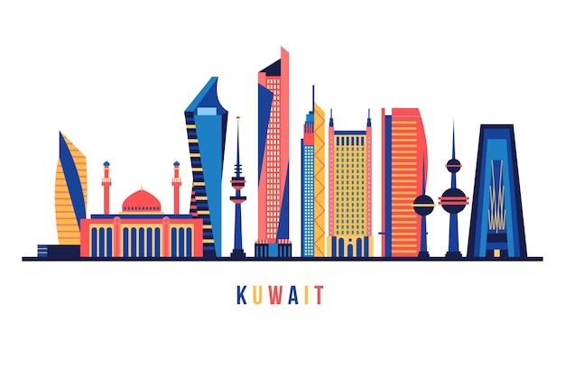 Kuwait skyline with different colors