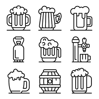 Kvass icons set, outline style