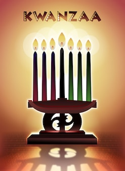 Kwanzaa festival of first fruits candles illustration