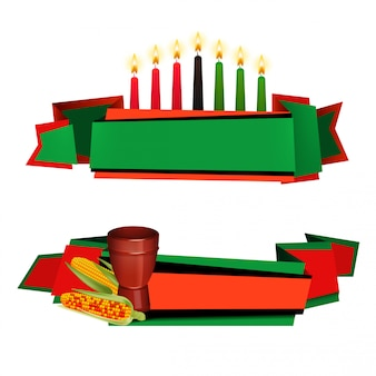 Kwanzaa ribbon colorful  banners set