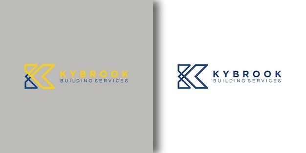 Шаблон логотипа kybrook building с современной концепцией